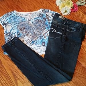 Girl's Justice jeans and top